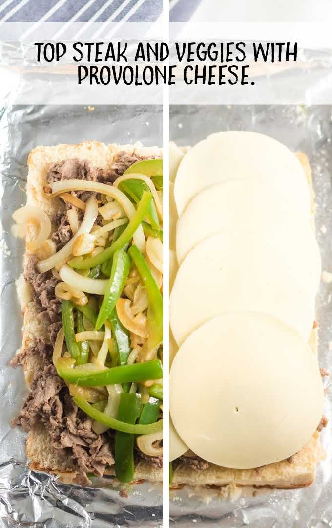 Philly cheesesteak sliders process shot of ingredients being placed on buns