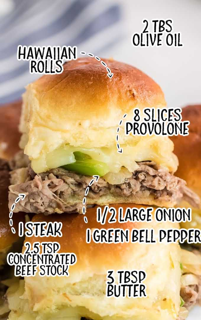 Philly cheesesteak sliders raw labeled ingredients