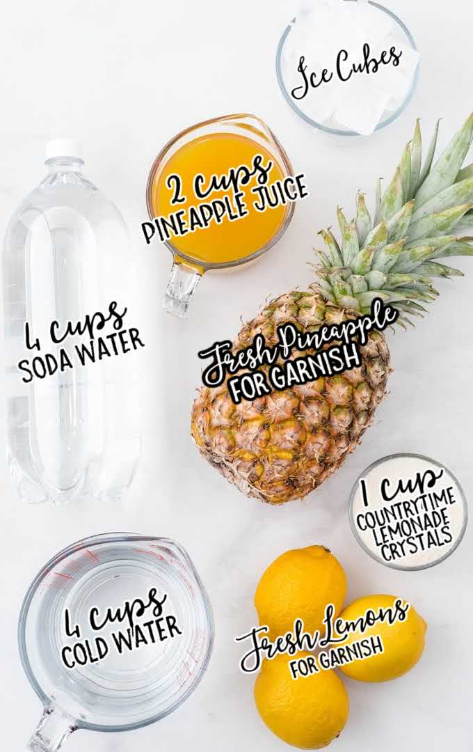 pineapple lemonade raw ingredients that are labeled