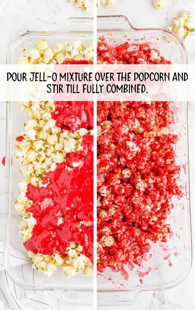 rainbow popcorn process shot of jello mixture being poured over popcorn and combined