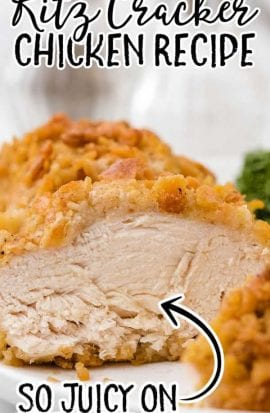 ritz cracker chicken sliced on a white plate
