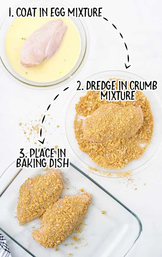 ritz cracker chicken process shot of chicken coated in egg mixture then dredged into crumb mixture and placed onto a baking dish