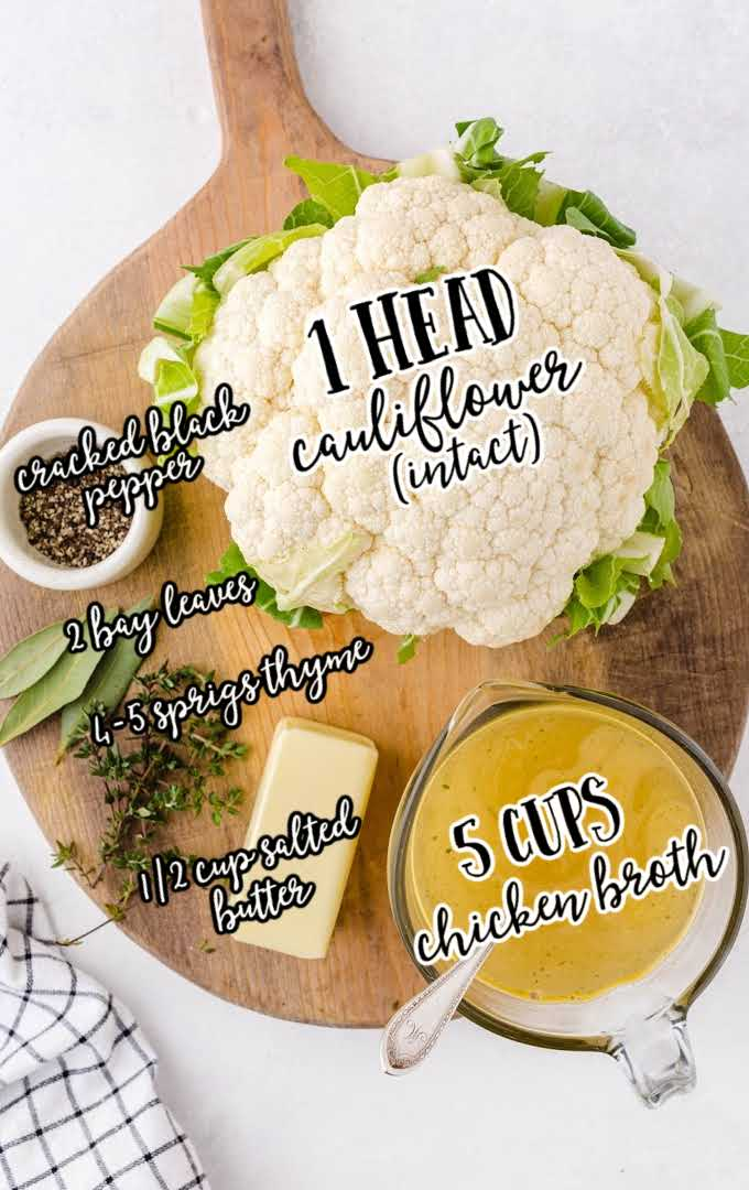 roasted cauliflower raw ingredients that are labeled