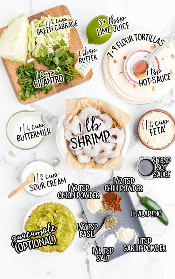 shrimp tacos with spicy cilantro lime sauce raw ingredients that are labeled