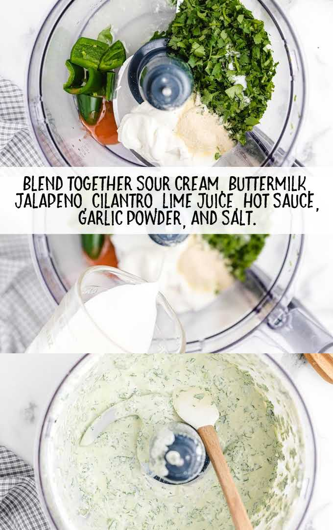 shrimp tacos with spicy cilantro lime sauce process shot of lime sauce ingredients being blended in a blender