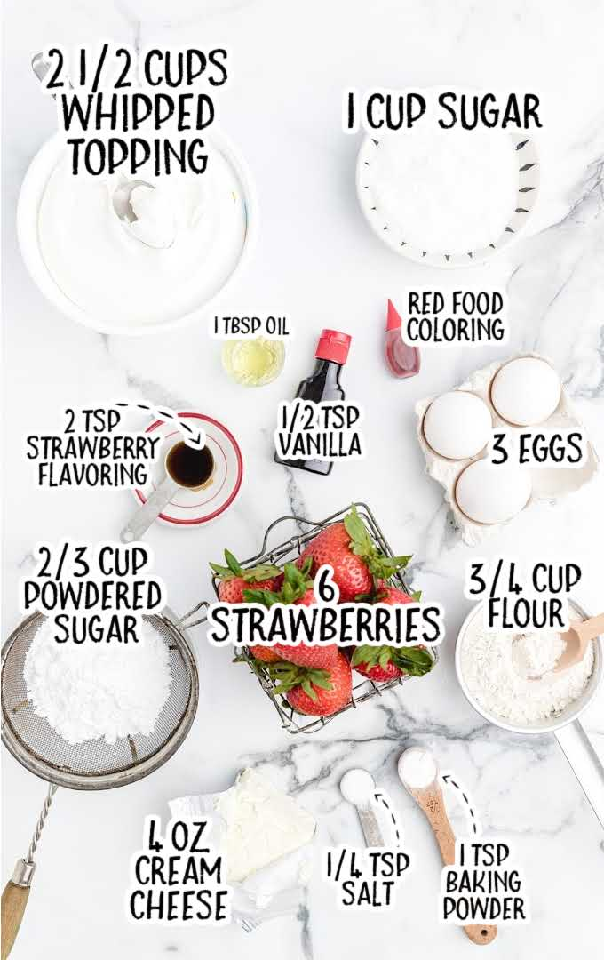 strawberry roll cake raw ingredients that are labeled