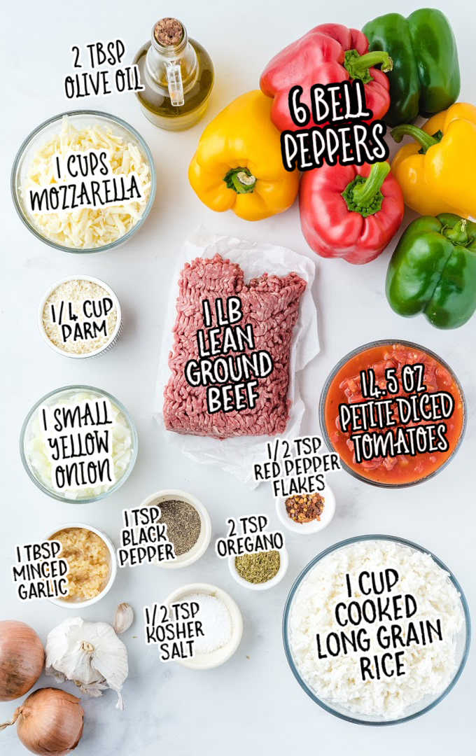 Stuffed Peppers raw ingredients that are labeled