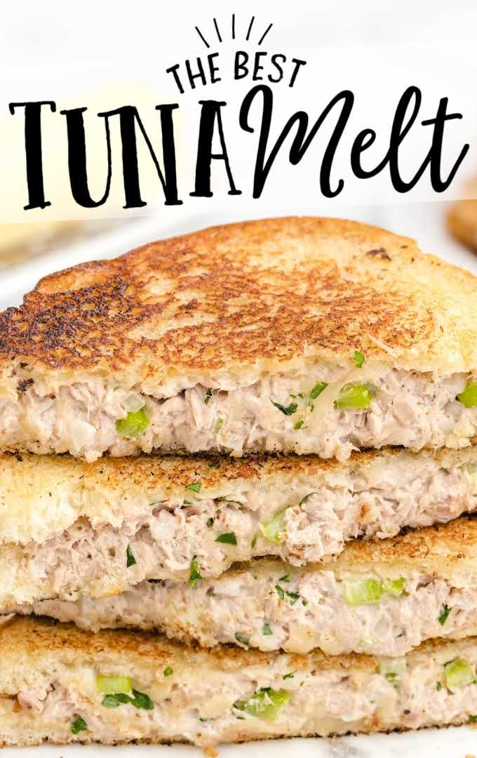 close up shot of tuna melt sandwiches stacked on top of each other