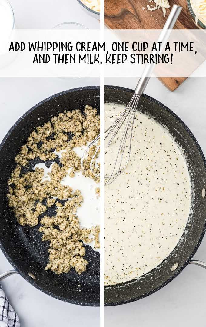 chicken alfredo bake process shut of ingredients being combined and cooked in a skillet