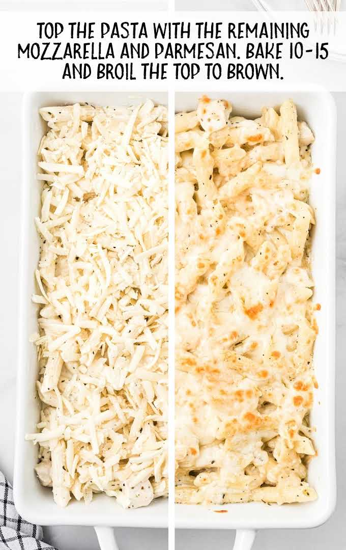 chicken alfredo bake process shot of cheese placed top of casserole then baked