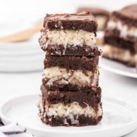 coconut brownies stacked on top of each other on a white plate