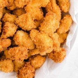 overhead shot of popcorn chicken piled in a bowl