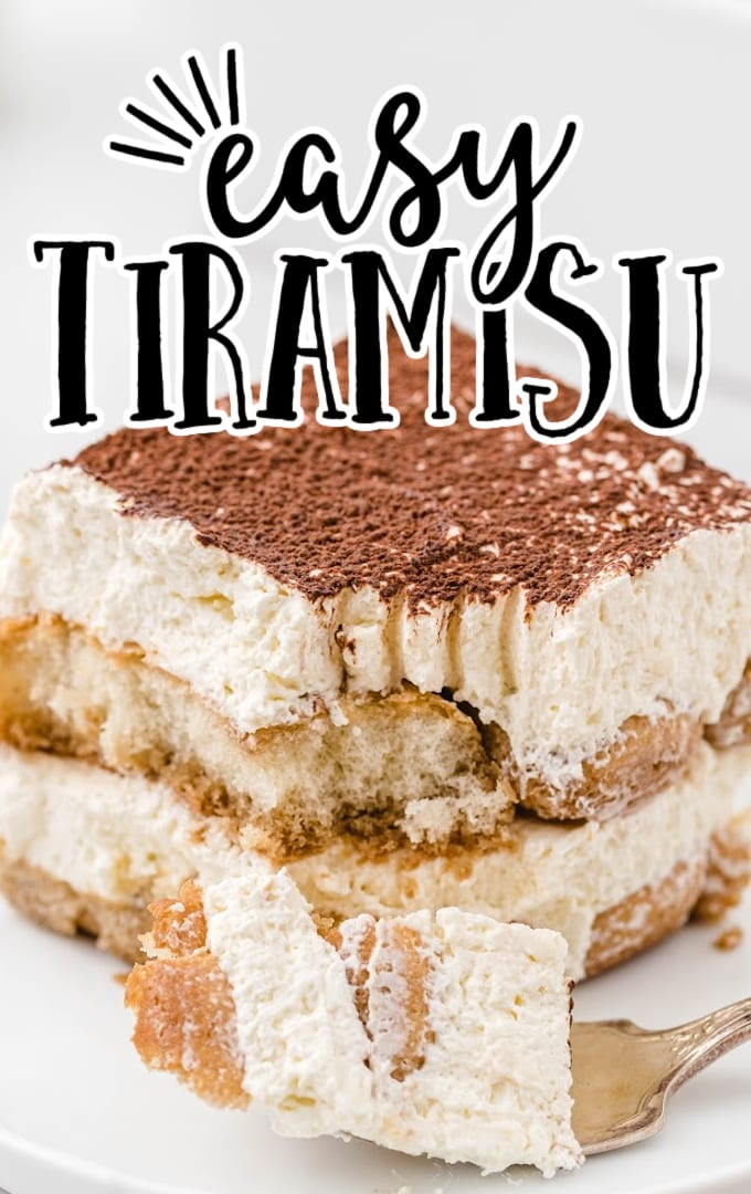 side shot of a slice of easy tiramisu recipe on a plate with a piece taken out with a fork