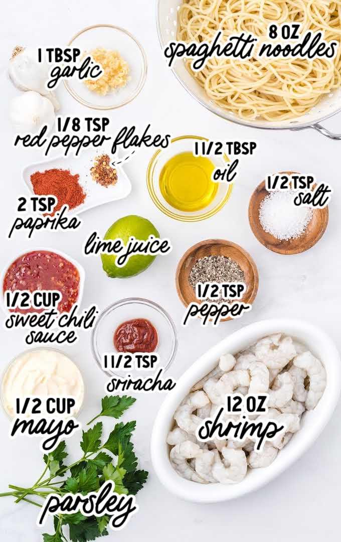 bang bang shrimp pasta raw ingredients that are labeled
