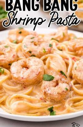 close up shot of bang bang shrimp pasta on a white plate