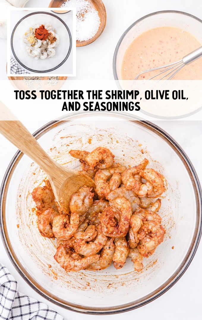 bang bang shrimp pasta process shot of shrimp and seasonings in a bowl