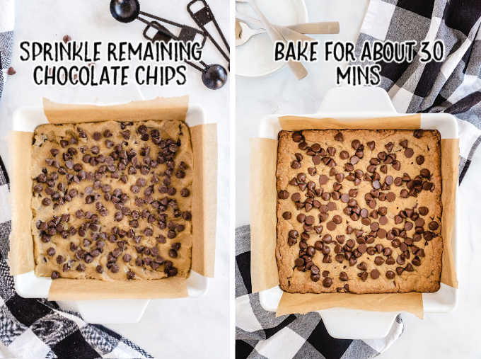 blondies process shot of before and after brownie is baked