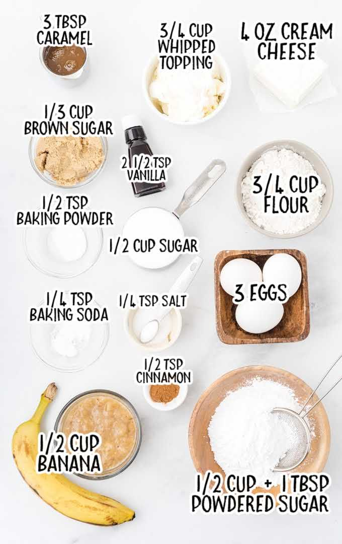 caramel banana cake roll raw ingredients that are labeled