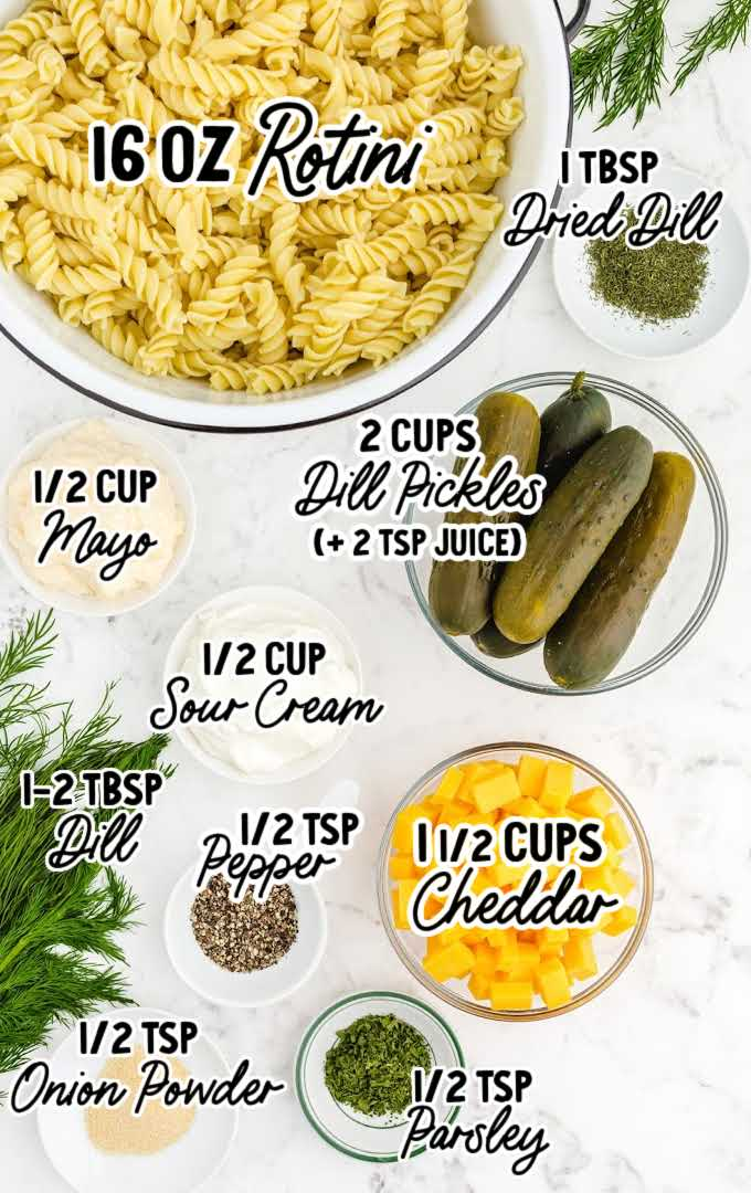 dill pickle pasta salad raw ingredients that are labeled