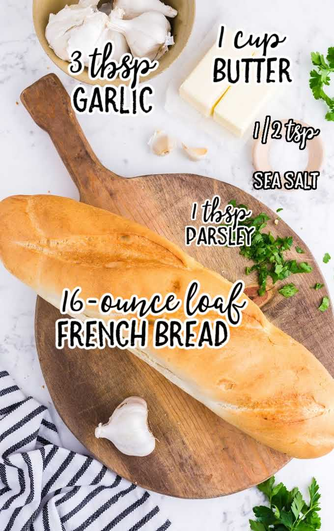 garlic bread raw ingredients that are labeled