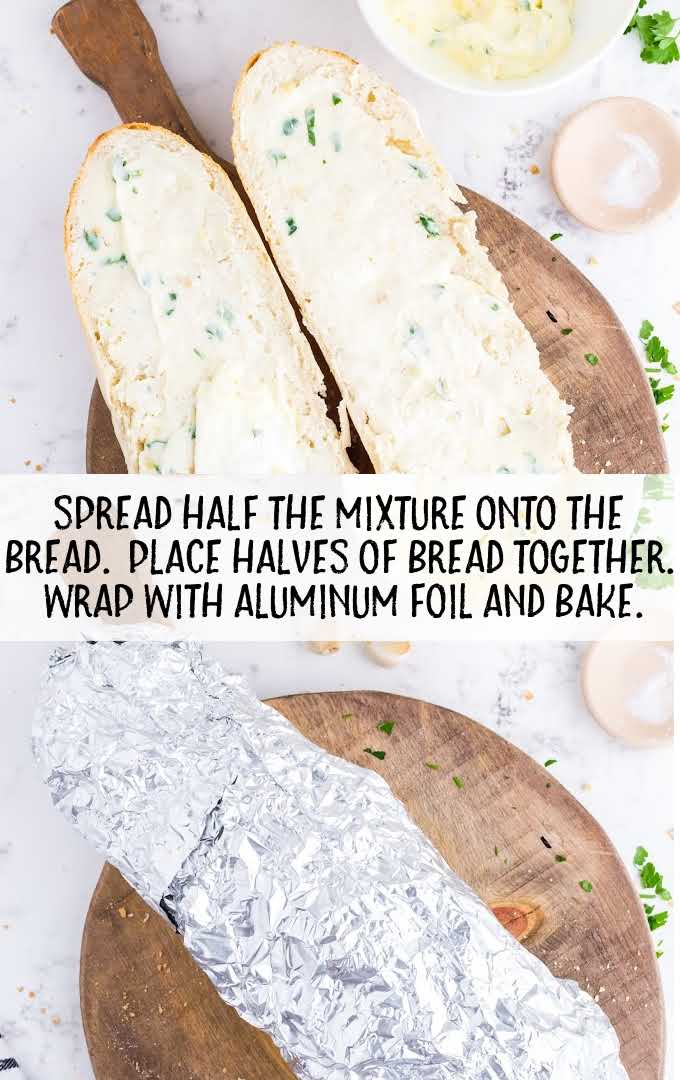 garlic bread process shot of mixture being spread on loaves of bread and wrapped with aluminum foil