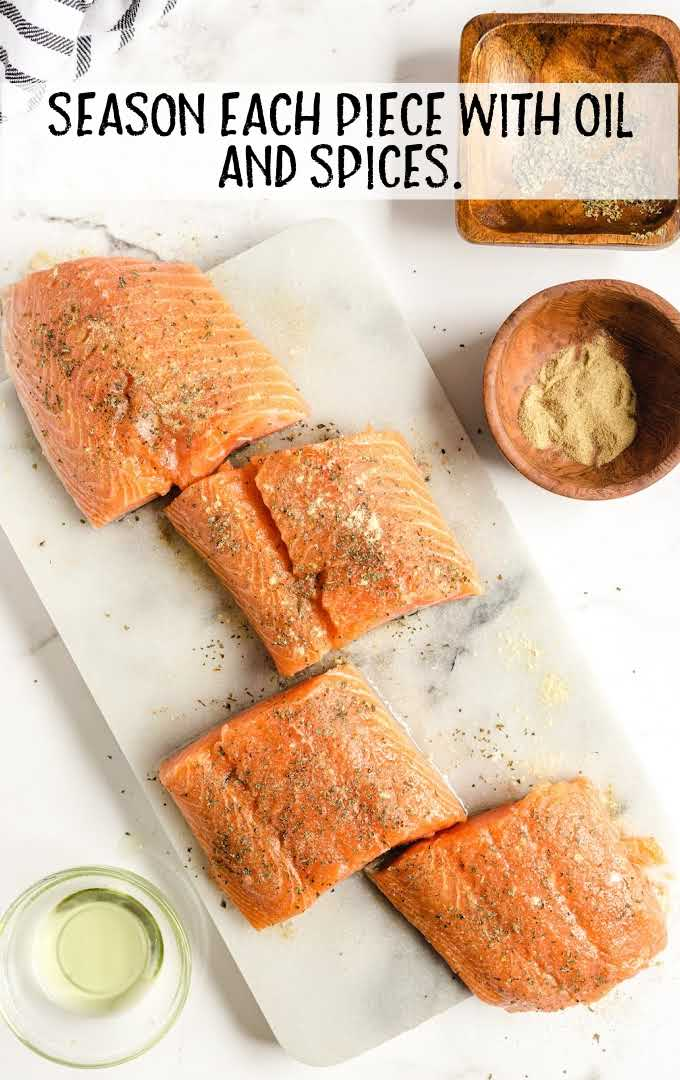 grilled salmon process shot of salmon seasoned and sliced