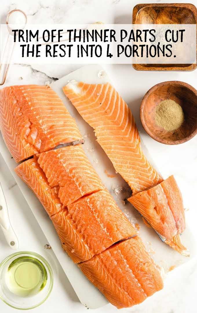 grilled salmon process shot of salmon cut