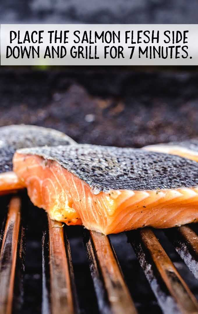 grilled salmon process shot of salmon on the grill