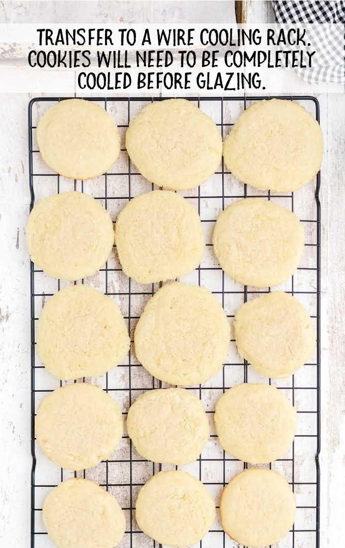 lemon meltaway cookies process shot of baked cookies on a cooling rack