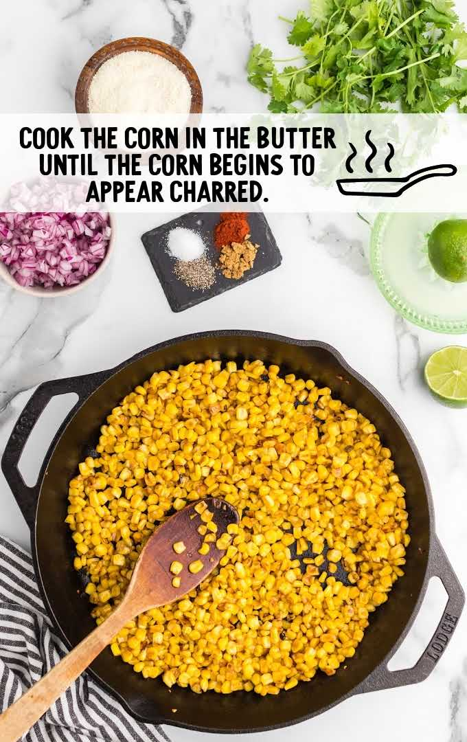 Mexican corn salad process shot of corn being cooked in a skillet
