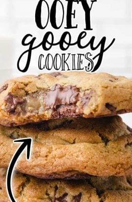 close up shot of ooey gooey cookies showing stacked on top of each other