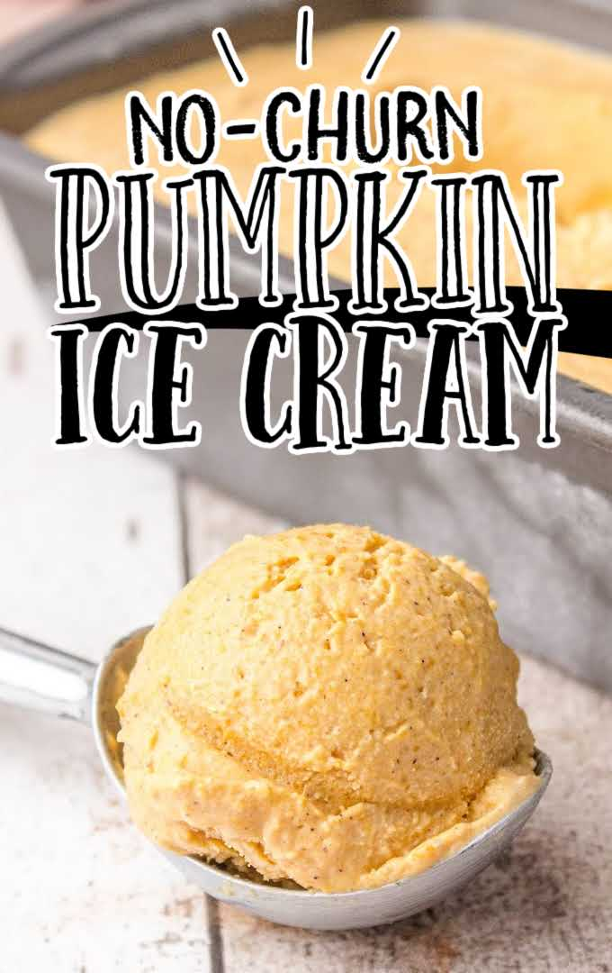 a scoop of pumpkin ice cream in a ice cream scooper and in a pan
