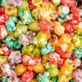 close up overhead shot of rainbow popcorn