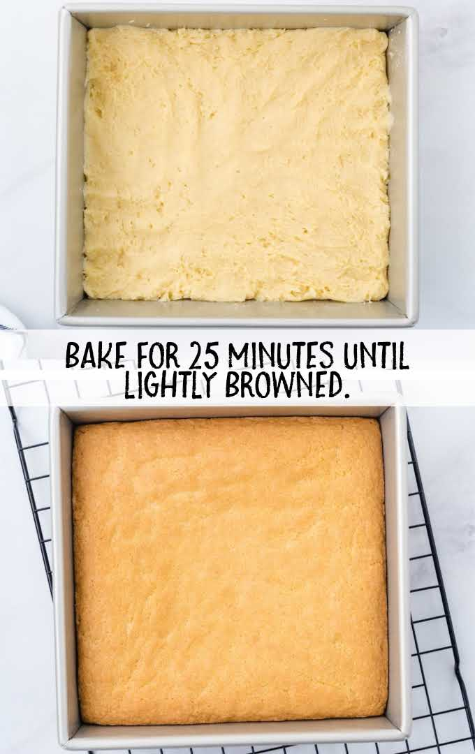 sugar cookie bars process shot of before and after bars is baked in a pan