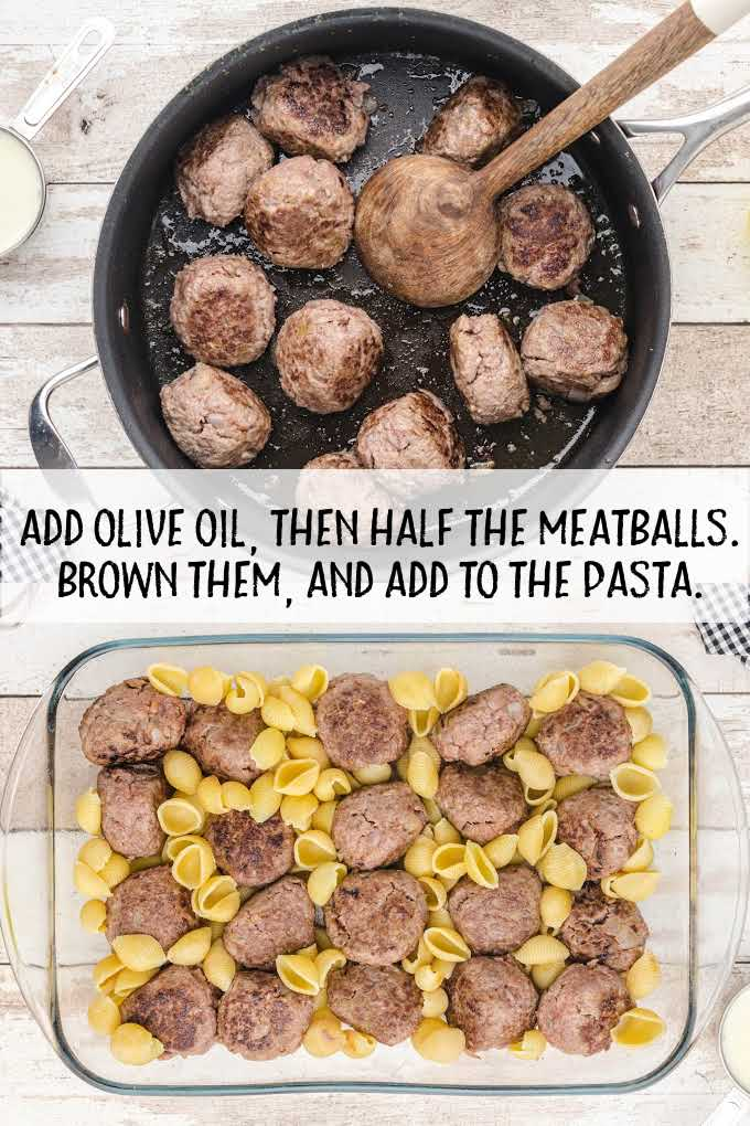 swedish meatballs and noodles process shot of meatballs in a skillet and in a pan with pasta