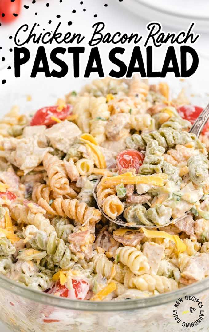 close up shot of chicken bacon ranch pasta salad with ranch dressing in a bowl with a spoon
