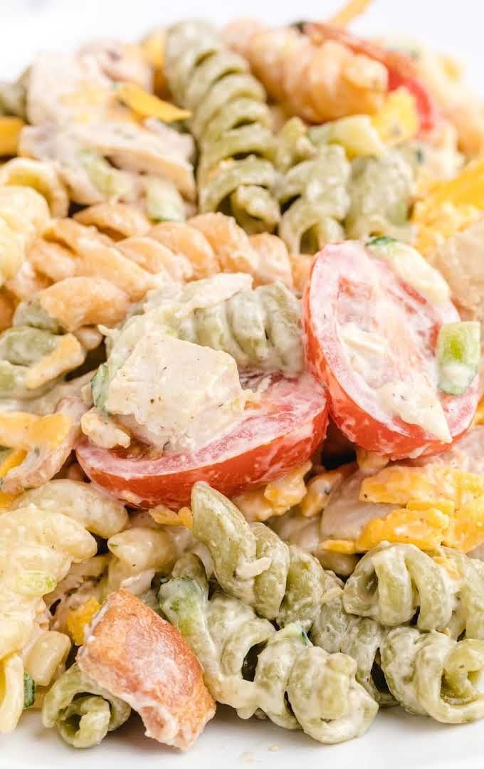 close up shot of chicken bacon ranch pasta salad with ranch dressing