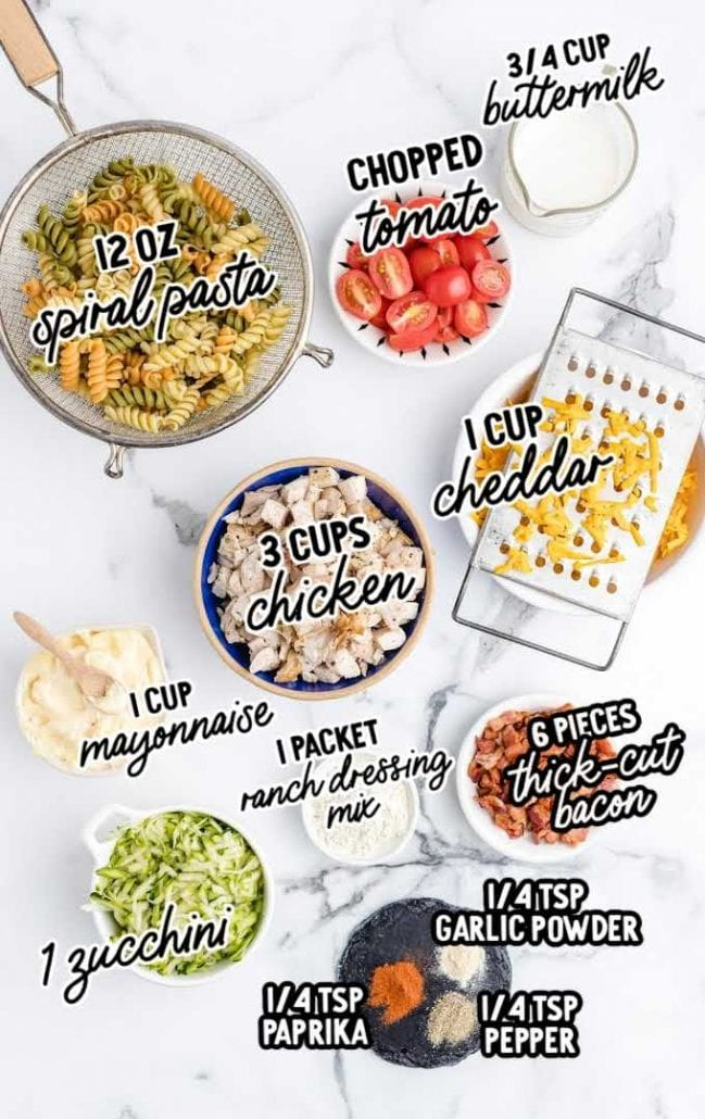 chicken bacon ranch pasta salad raw ingredients that are labeled