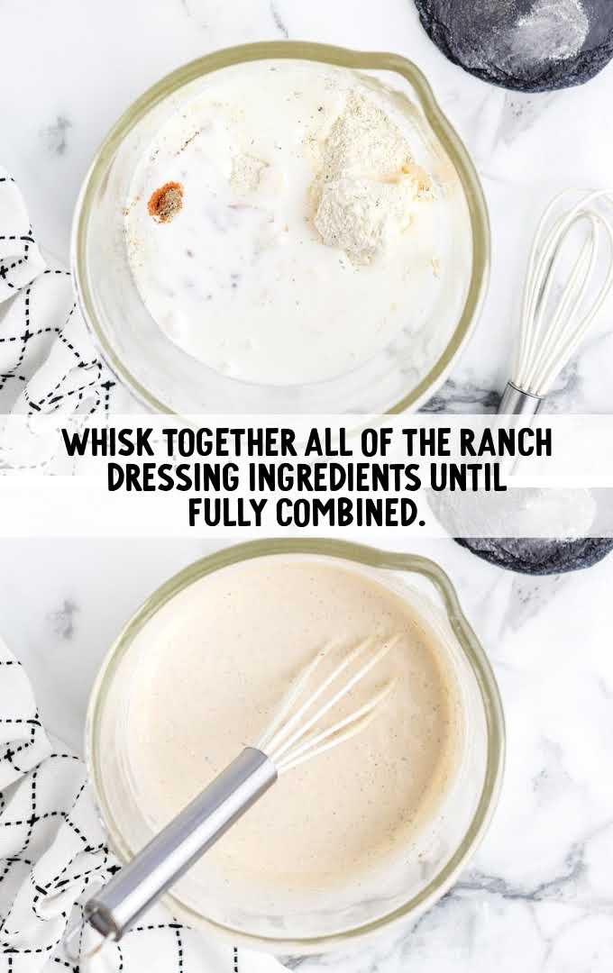 chicken bacon ranch pasta salad process shot of ingredients being whisked together in a measuring cup
