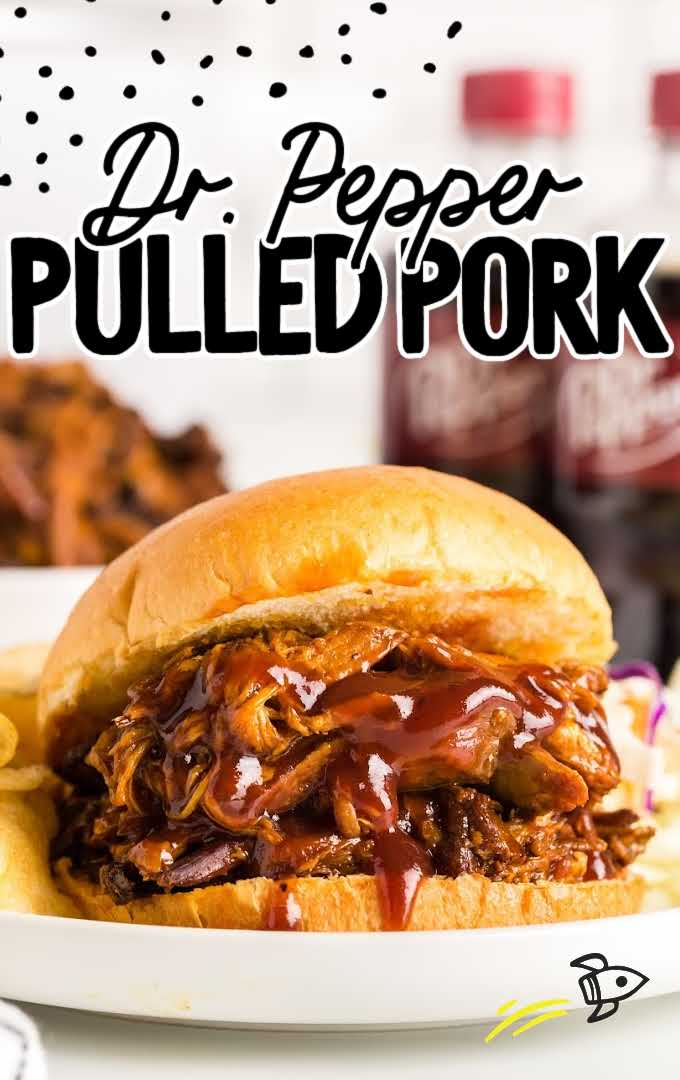 dr pepper pulled pork sandwich on a plate with sides