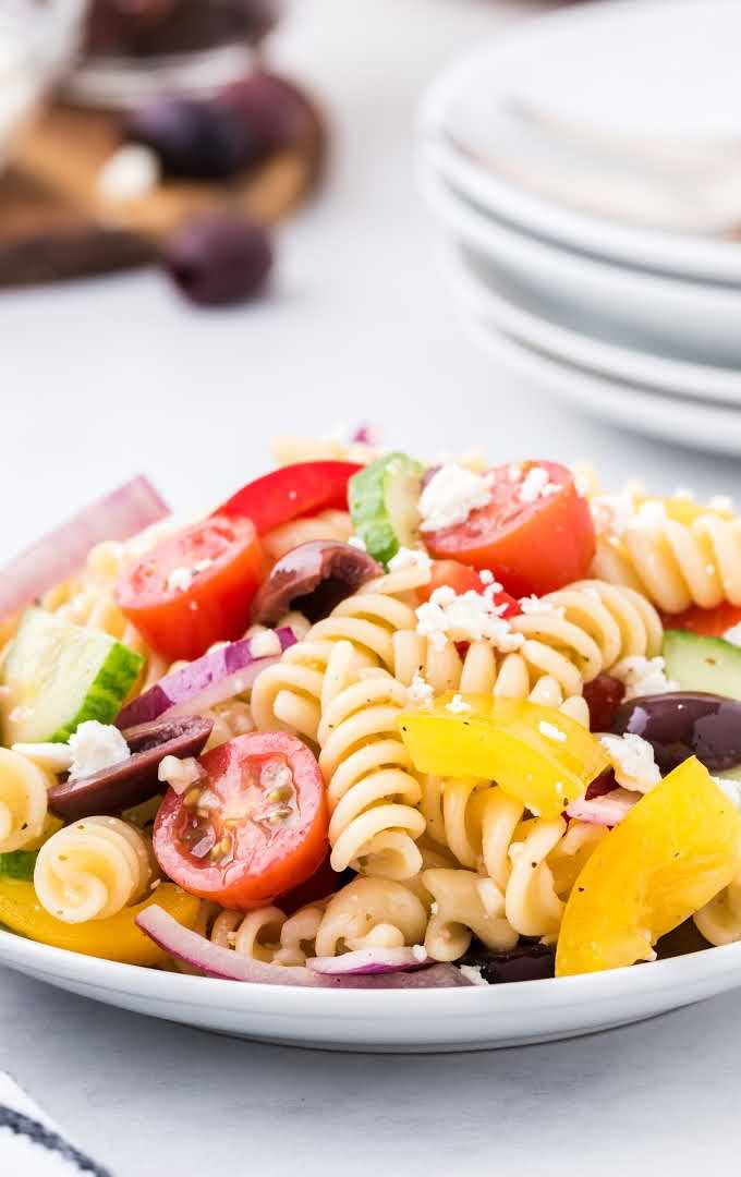 overhead close up shot of greek salad on a plate