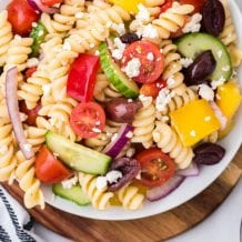 overhead close up shot of greek salad in a bowl