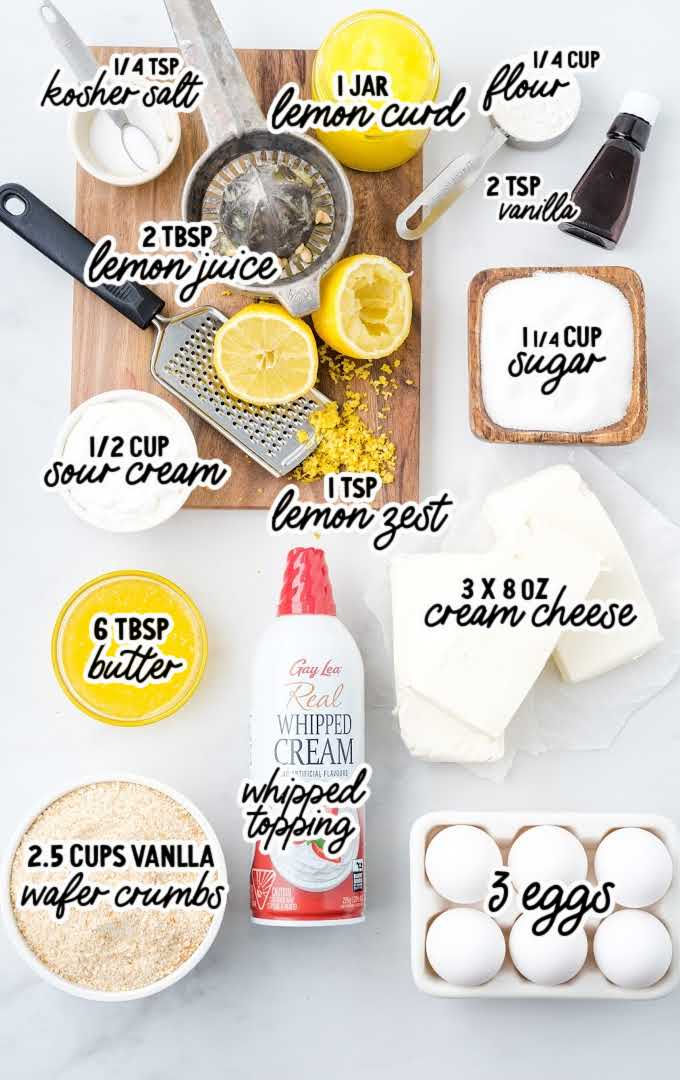 lemon cheesecake raw ingredients that are labeled
