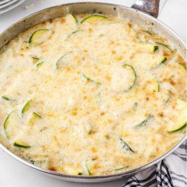zucchini gratin in a skillet