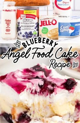 close up shot of a slice of blueberry angel food cake with a piece being taken out with a fork and the raw ingredients of blueberry angel food cake