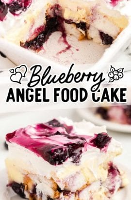 close up shot of a slice of blueberry angel food cake on a plate and in a baking dish