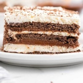close up shot of icebox cake on a white plate