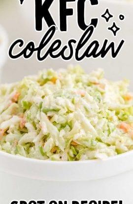 close up shot of KFC copycat coleslaw in a bowl