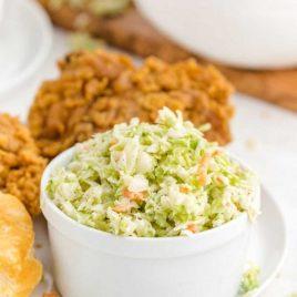 copycat kfc coleslaw with fried chicken