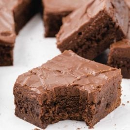 close up shot of Lunch Lady Brownies with a piece of it gone